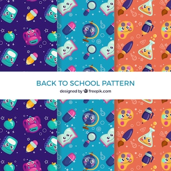 Back to school pattern collection with flat design