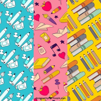 Back to school patterns collection with books and pencils