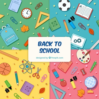 Back to school patterns collection with different elements