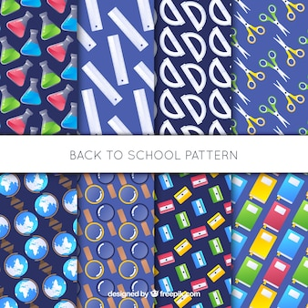 Back to school patterns collection with elements
