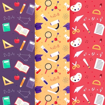 Back to school patterns with different educational elements