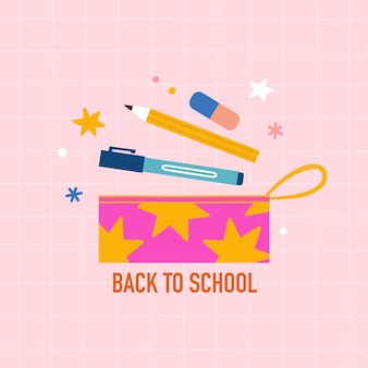 Back to school pencil bag and stationery Premium Vector