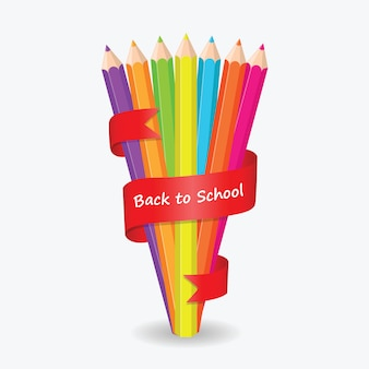 Back to school pencil color with red ribbon background