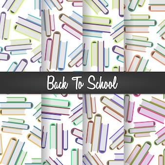 Back to school pile of books seamless pattern