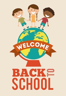 Back to school over pink background vector illustration