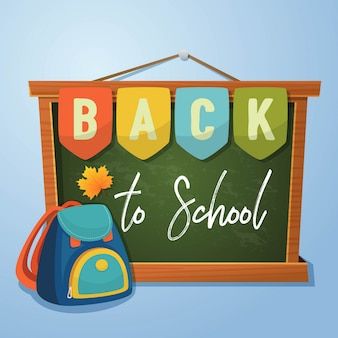 Back to school poster design with chalkboard background