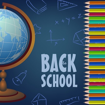 Back to school poster design with globe, colored pencils