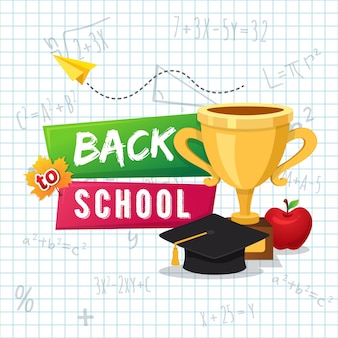 Back to school poster design with paper background