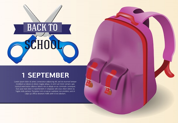 Back to school poster design with violet backpack