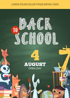 Back to school poster. open day party event invitation placard pictures of funny school cartoon animals  banner flyer template