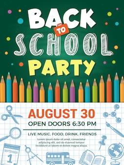 Back to school poster.  template of school placard or back education  for schooling event party