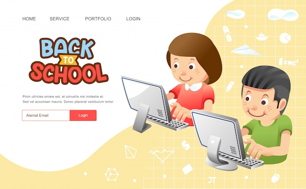 Back to school or poster with boy and girl using computer for online study from home illustration
