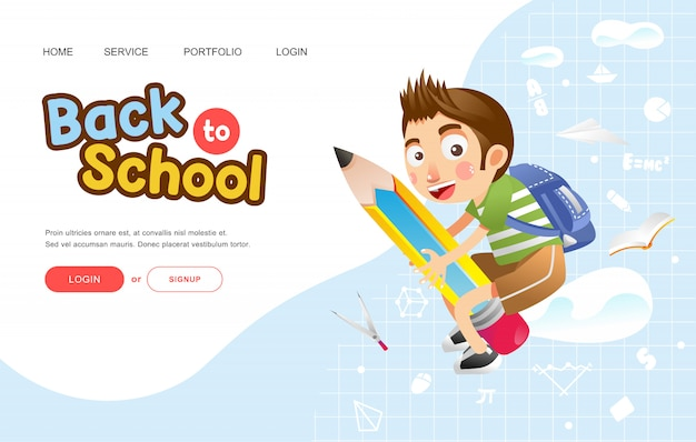 Back to school or poster with boy with happy face ride on big pencil illustration