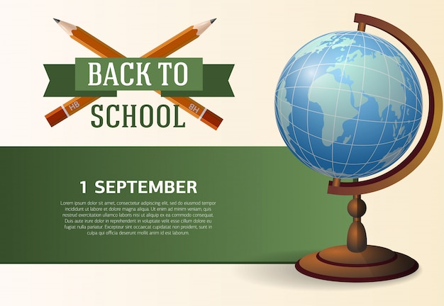 Back to school poster with crossed pencils