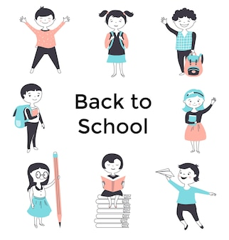 Back to school poster with cute cartoon kids. hand drawn vector illustration.