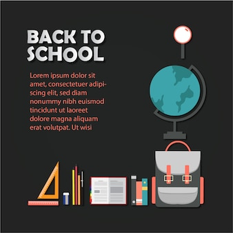 Back to school poster with icons