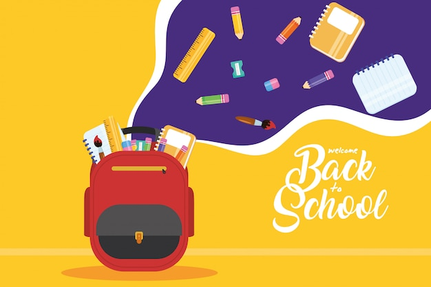 Back to school poster with schoolbag and supplies