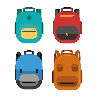 Back to school poster with set schoolbags
