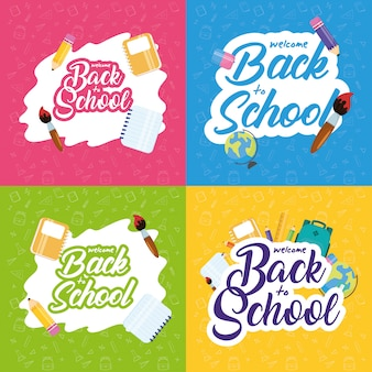 Back to school poster with set supplies