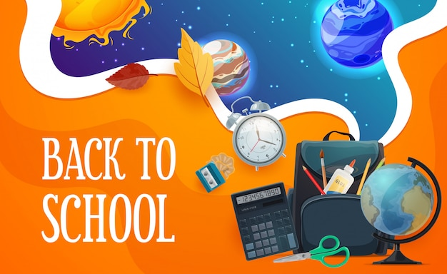 Back to school poster with student stationery