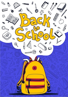 Back to school poster. yellow backpack, school supplies and back to school text on violet background.  illustration.