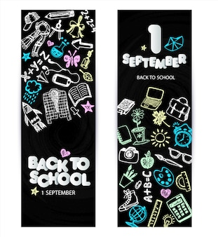 Back to school promo banner design. vector black chalkboard