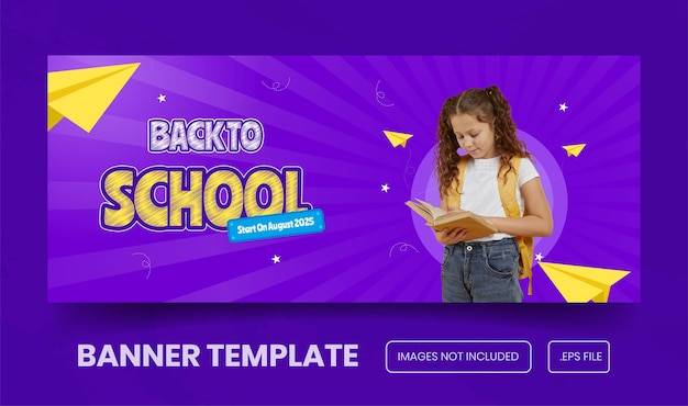 Back to school promotion for banner template premium vector