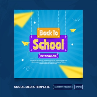 Back to school promotion for social media banner template premium vector