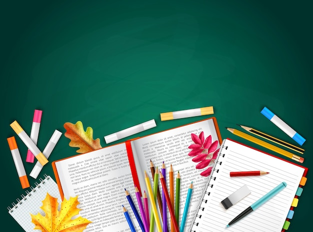 Back to school realistic background with books pencils crayons autumn leaves rubber