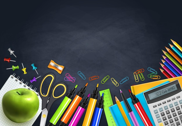 Back to school realistic background with markers notebooks calculator apple ruler on chalk board