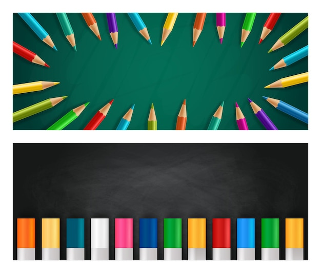 Back to school realistic horizontal background set with colorful crayons and pencils on chalk board