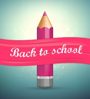 Back to school. realistic pencil, pink ribbon.