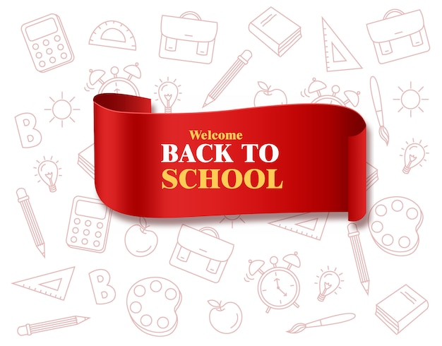 Back to school ribbon with school supplies board