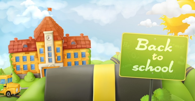 Back to school, road and sign,  cartoon background