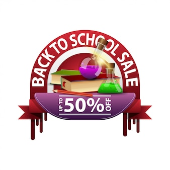 Back to school, round discount banner for your website with books and chemical flasks
