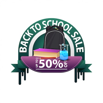 Back to school, round discount banner for your website with school backpack