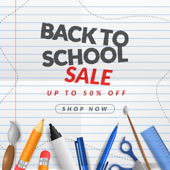 Back to school sale banner on paper