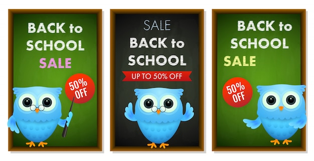 Back to school sale banner set