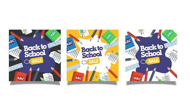Back to school sale banner set