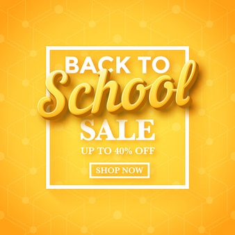 Back to school sale banner template design with 3d typography