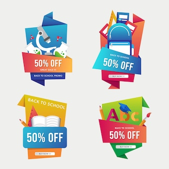 Back to school sale banner template with origami style collection