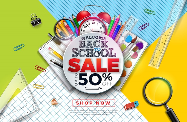 Back to school sale banner with colorful pencil, alarm clock, brush and other learning items