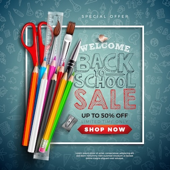Back to school sale banner with colorful pencil, brush, scissors and typography letter on chalkboard