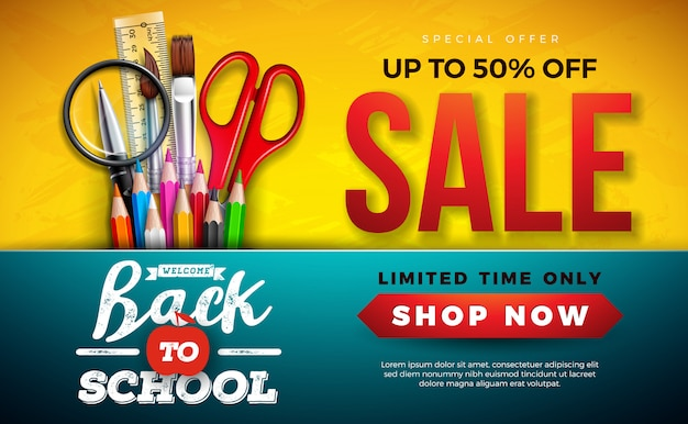 Back to school sale banner with colorful pencil, brush and scissors on yellow