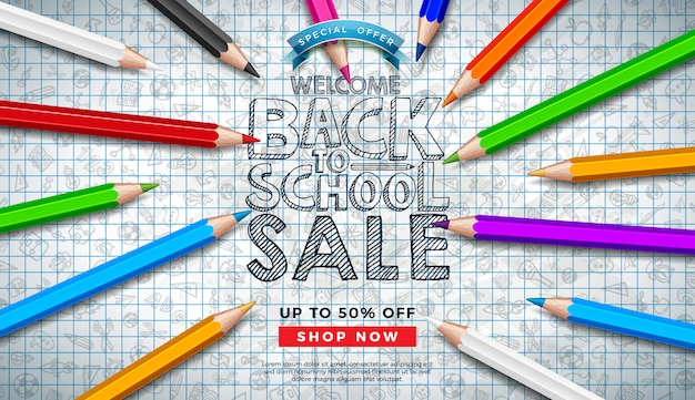 Back to school sale banner with colorful pencil and hand drawn doodles on square grid