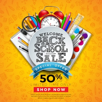Back to school sale banner with colorful pencil and other learning items on hand drawn doodles