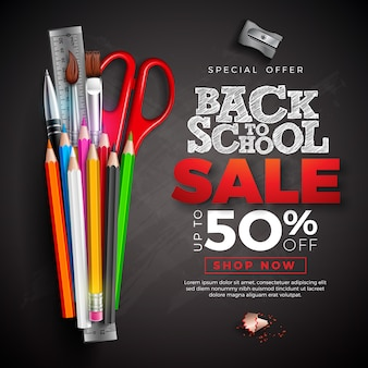 Back to school sale banner with colorful pencil and text written with chalk on chalkboard