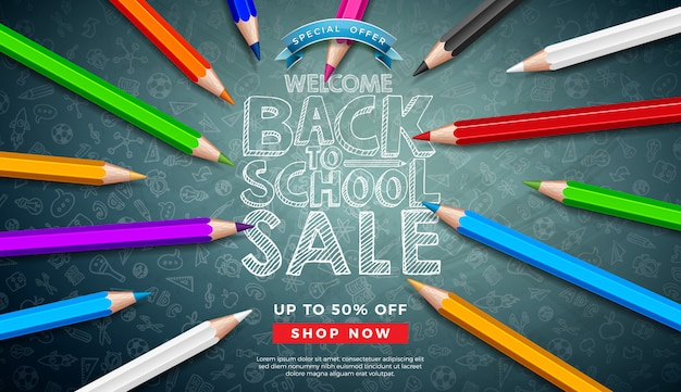 Back to school sale banner with colorful pencil and typography letter on chalkboard