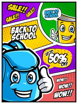 Back to school sale banner with funny school characters and comic style