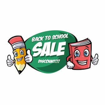 Back to school sale banner with funny school characters